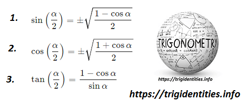 Derivation of trig half angle identities