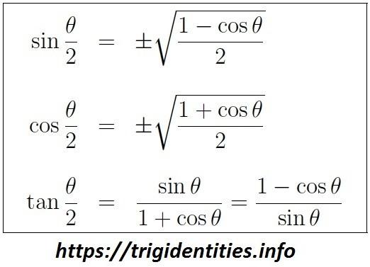 trig half angle Identities